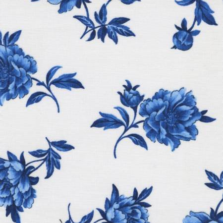True Blue - Tossed Blue Floral on White