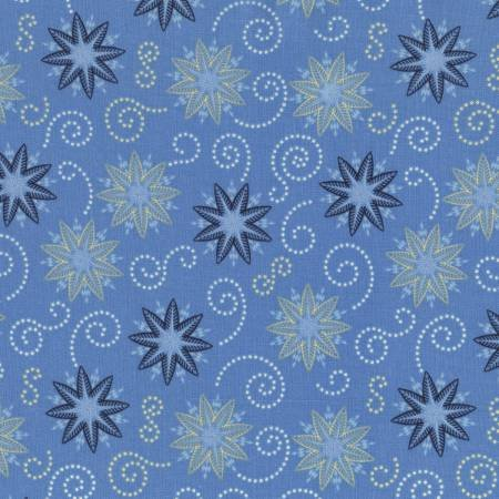 Bohemian Blues Collection - Azure Blue Stars & Spirals