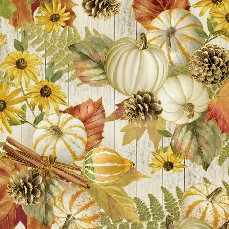 Fall Foliage - Harvest Gourds with Gold Metallic