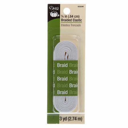 1/4  White Braided Elastic by Dritz