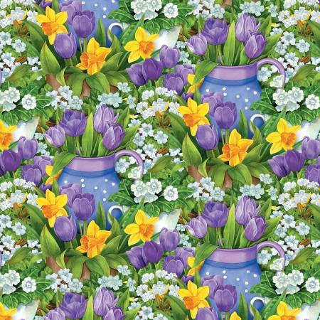 Garden Gathering - Purple Tulips and Yellow Daffodils