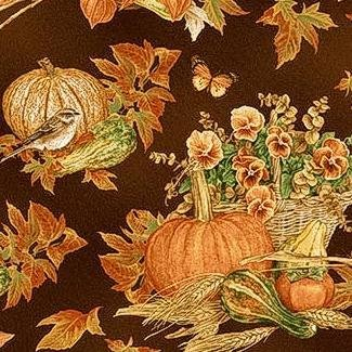 Harvest Botanical - Pumpkin on Brown - 50% Off!