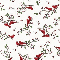 Frolic in the Snow Flannel - Birds on Twigs on White
