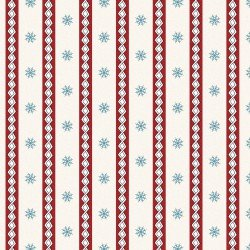 Frolic in the Snow Flannel - Stripe on White - 50% Off!
