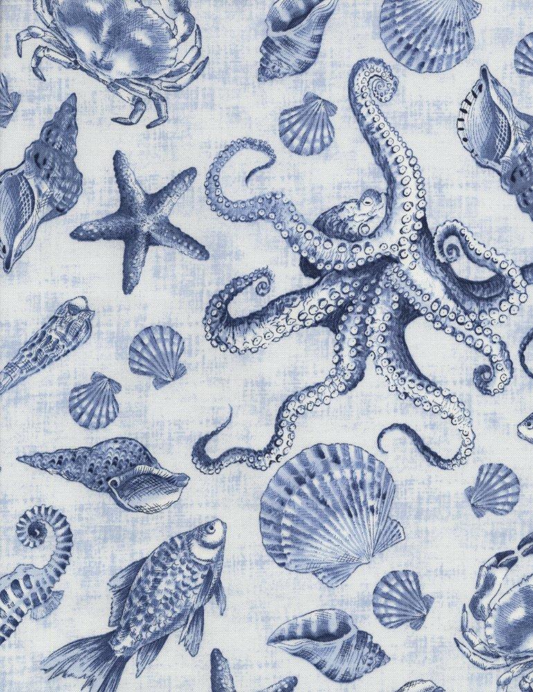 Beach - Sea Creatures on Blue Delft