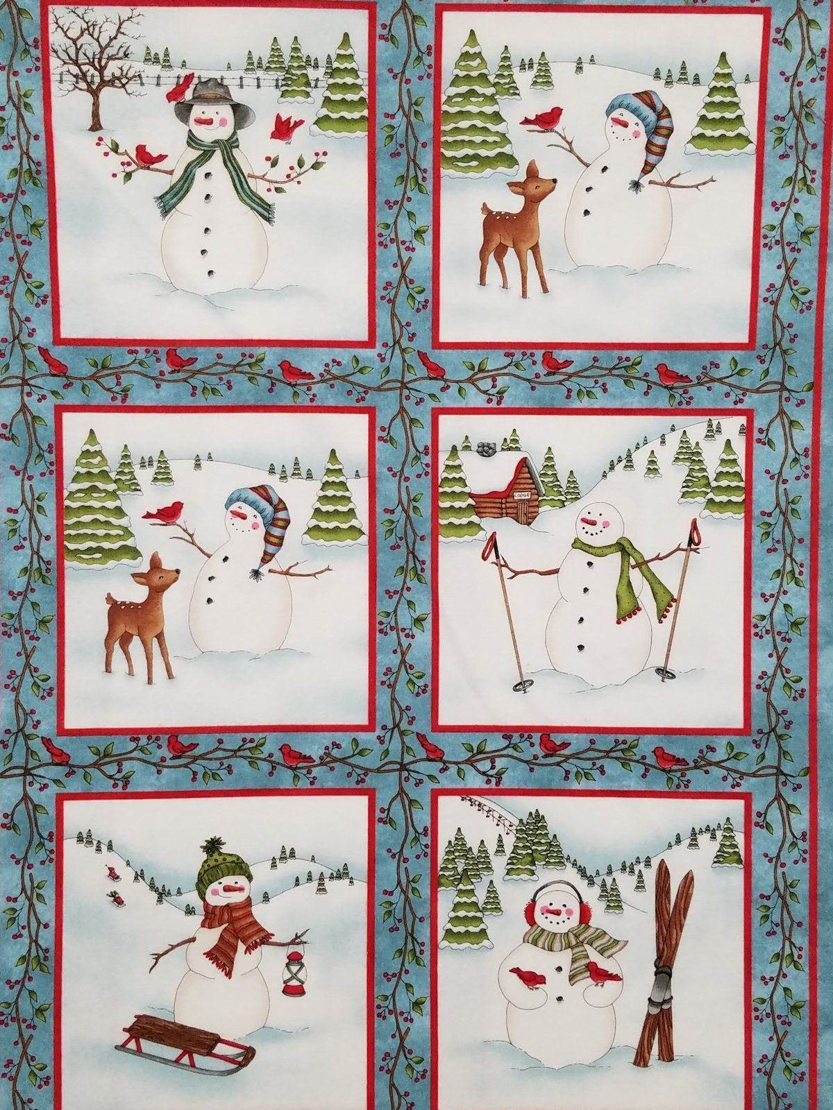 Frolic in the Snow Flannel - Snowman Blocks