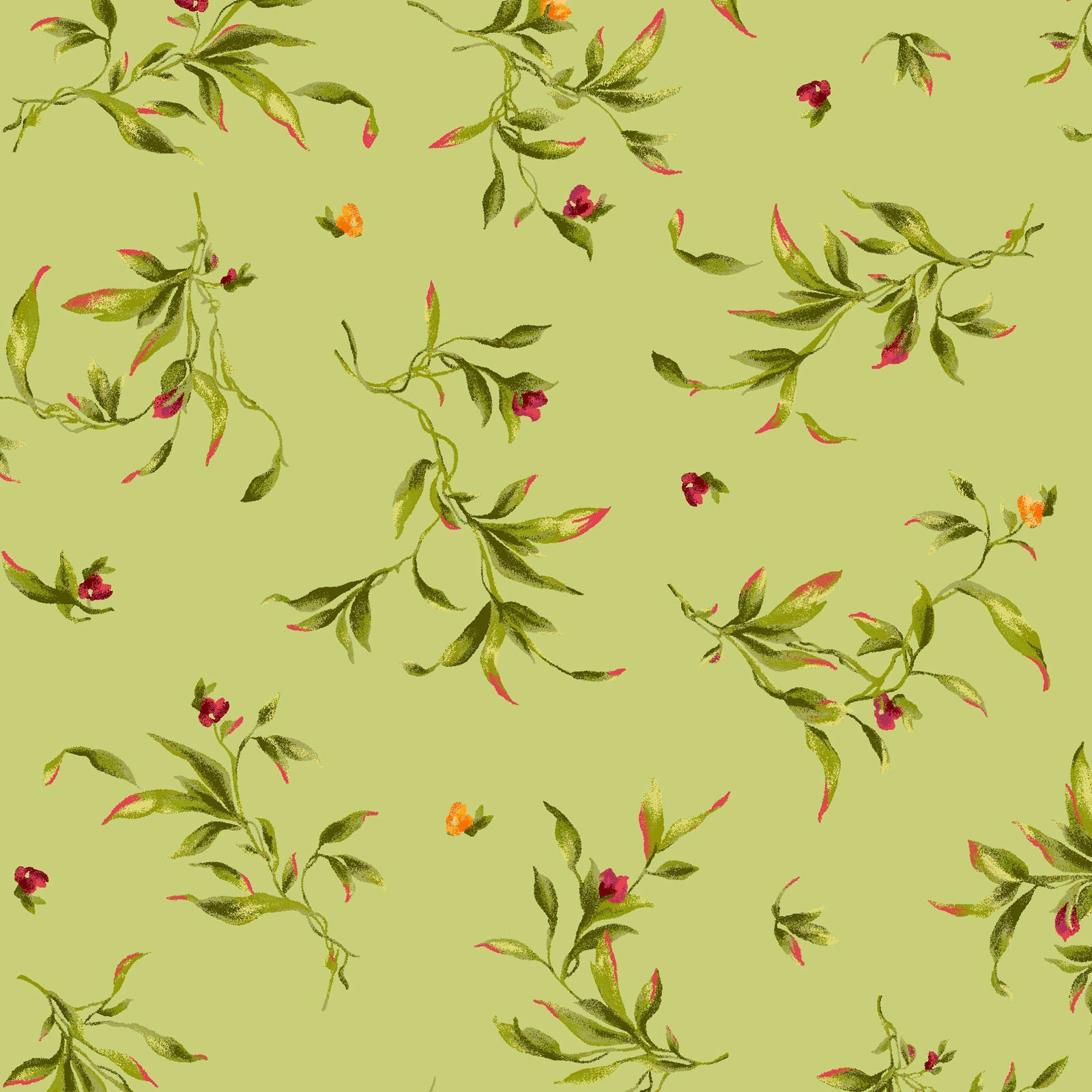 Catalina Collection - Wispy Leaves on Light Green