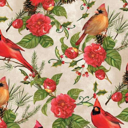 Christmas in the Wildwood - Birds and Roses on Tan