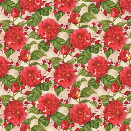 Christmas in the Wildwood - Candy Cane and Roses on Tan