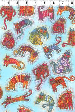 FABULOUS FELINES AQUA SHADED SM CATS FABRIC