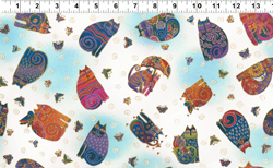 FABULOUS FELINES AQUA SM CATS FABRIC