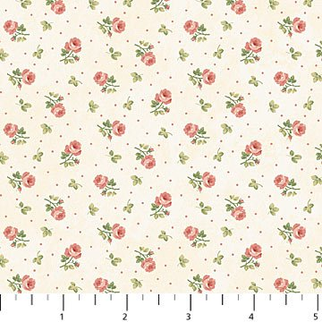 Vintage Rose - Small Roses on White