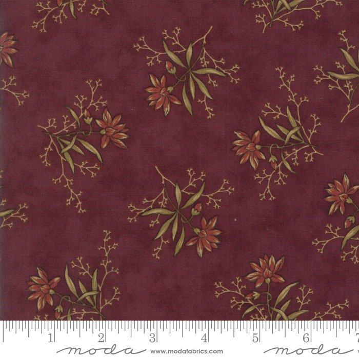 Coral Bells - Spaced Floral on Burgundy