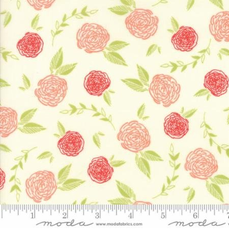 Creekside - Coral Roses on Ivory