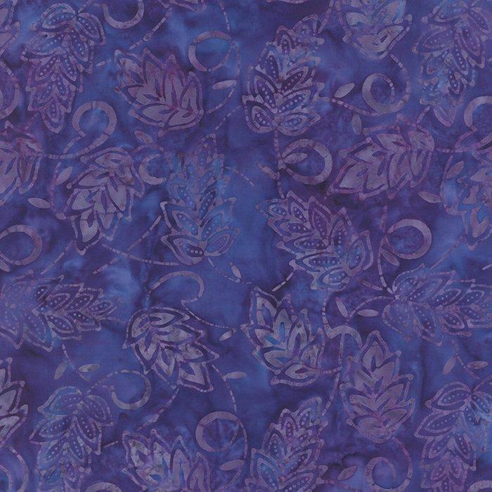 Baja Breeze Batiks - Dusk Purple with Leaves