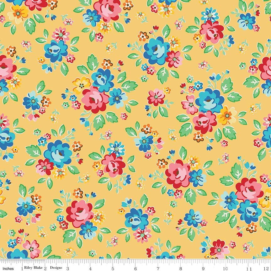Mask Fabric- Arbor Blossoms - Main Flowers on Yellow