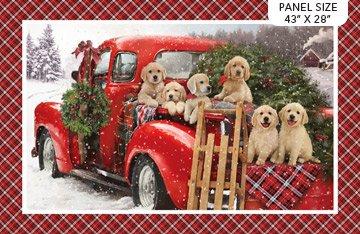 SANTA HELPERS- Puppies in Red Truck Panel