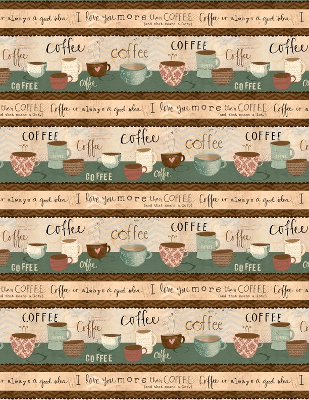 But First, Coffee! - Repeating Stripe