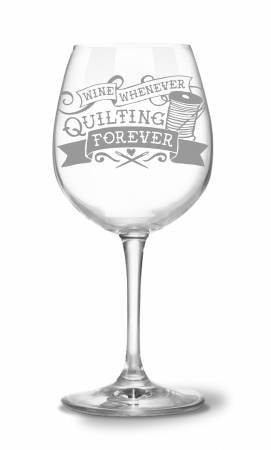 Quilting Forever Wine Glass
