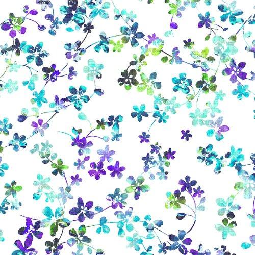 Fabric 108 W Watercolor Meadow 4280-15 Lt Blue