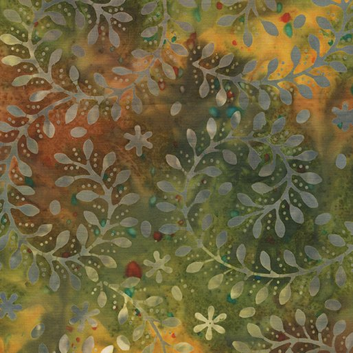 Fabric Bali Sunset Valley Vine Swirl Grn Multi 7511-49