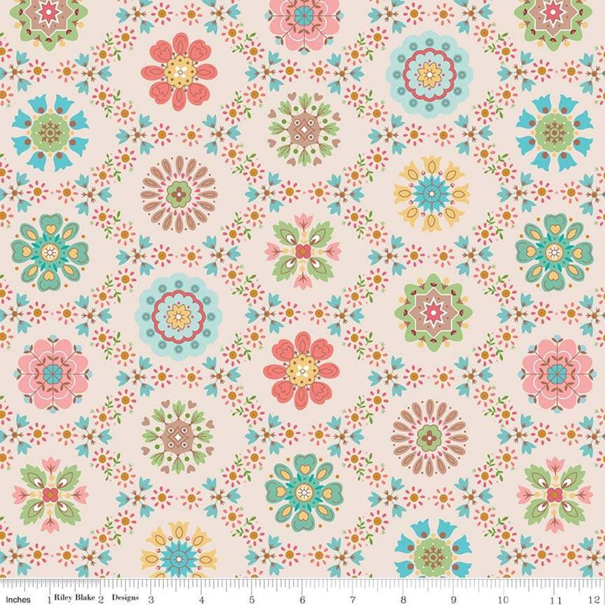 Fabric Granny Chic Applique Multi C8510-Multi