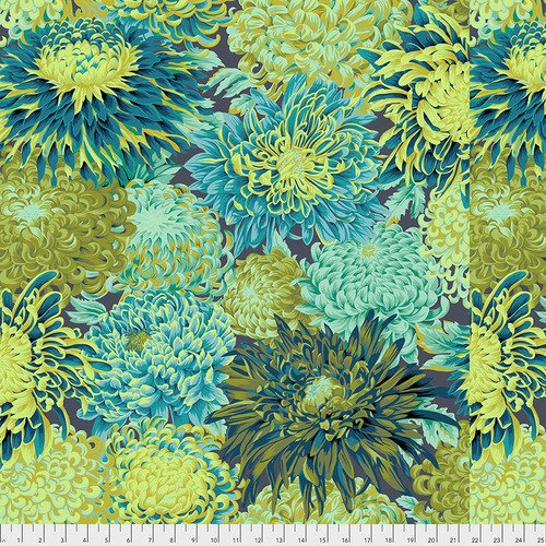 Fabric Kaffe Japanese Mum PWPJ041-Forest