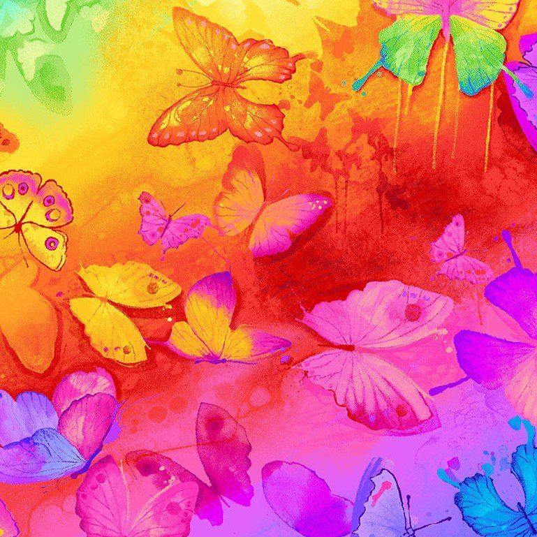 Fabric Spirit Butterfly Rainbow CD7135-Bright