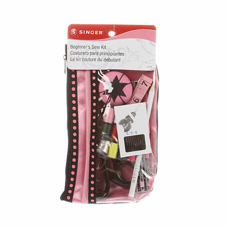 Beginner's Sewing Kit in a Pink & Black Pouch
