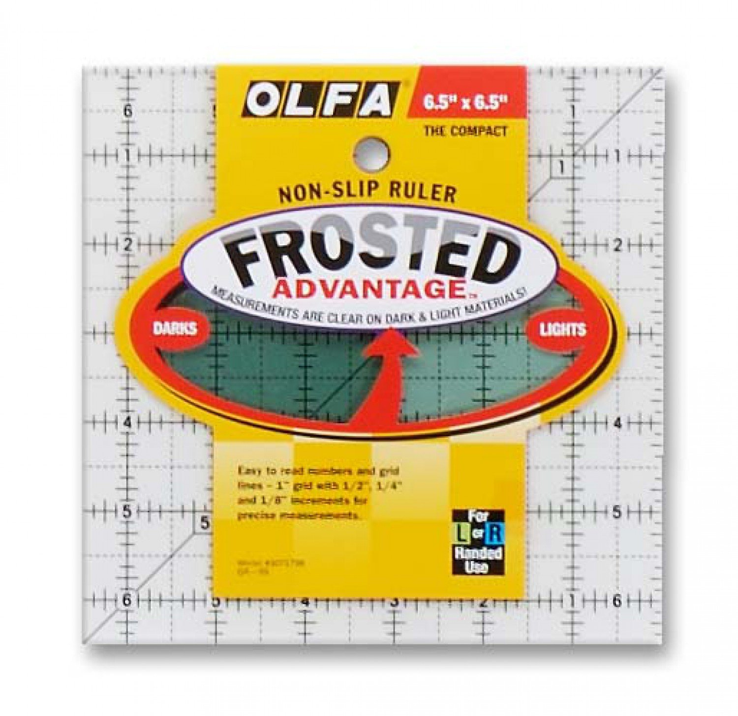 Frosted Acrylic Olfa Ruler 6-1/2 x 6-1/2 - The Compact