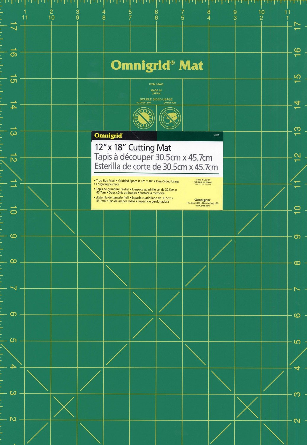 Cutting Mat Omnigrid Green with Yellow Grid 12in x 18in