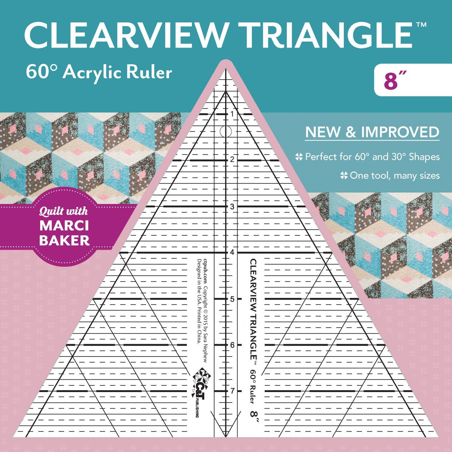 Clearview Triangle 60 degree Acrylic Ruler 8 inch designed by Sara Nephew for Qu...