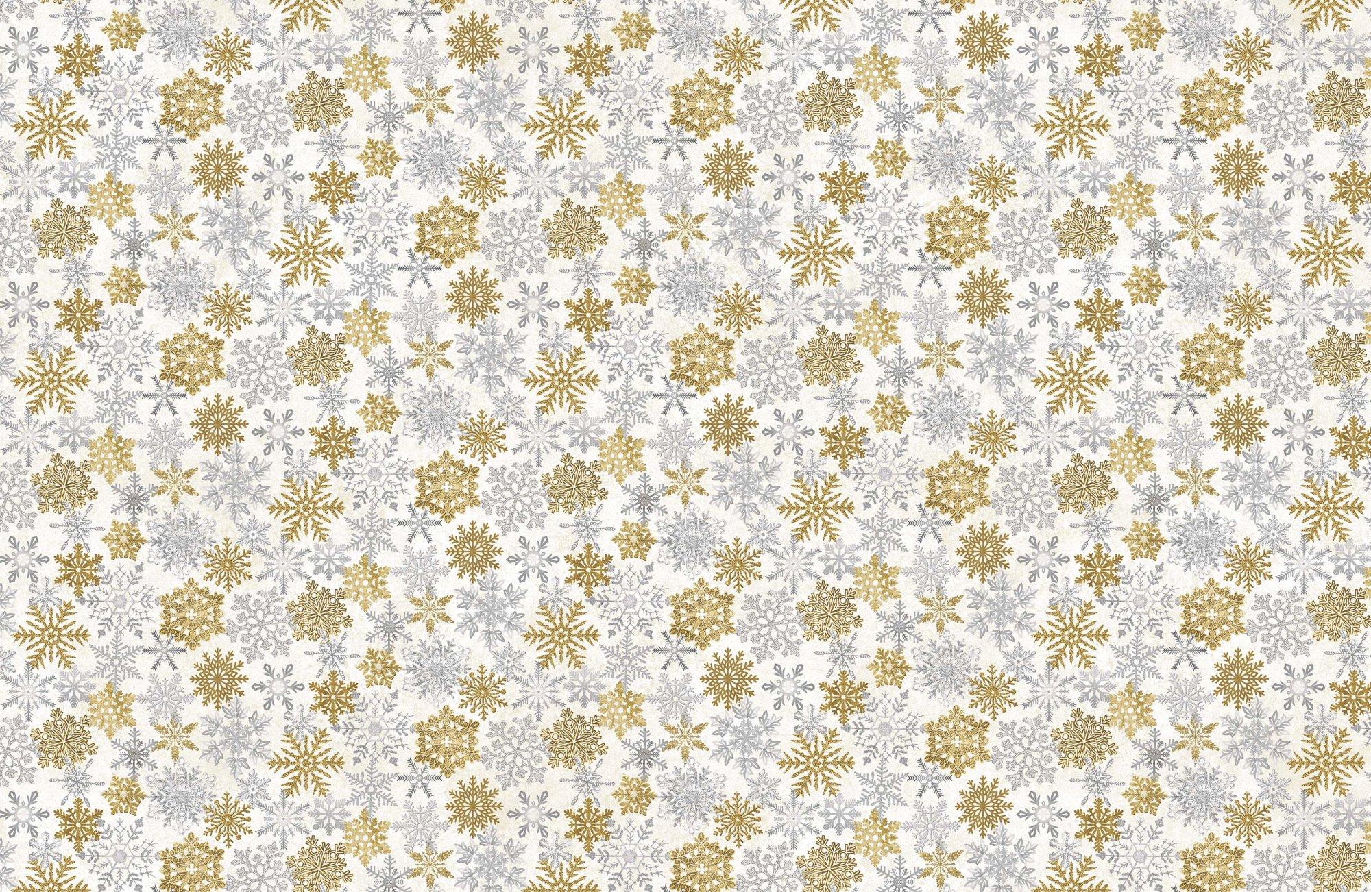 STONEHENGE WHITE CHRISTMAS - Snowflakes Duotone   Neutral Gold