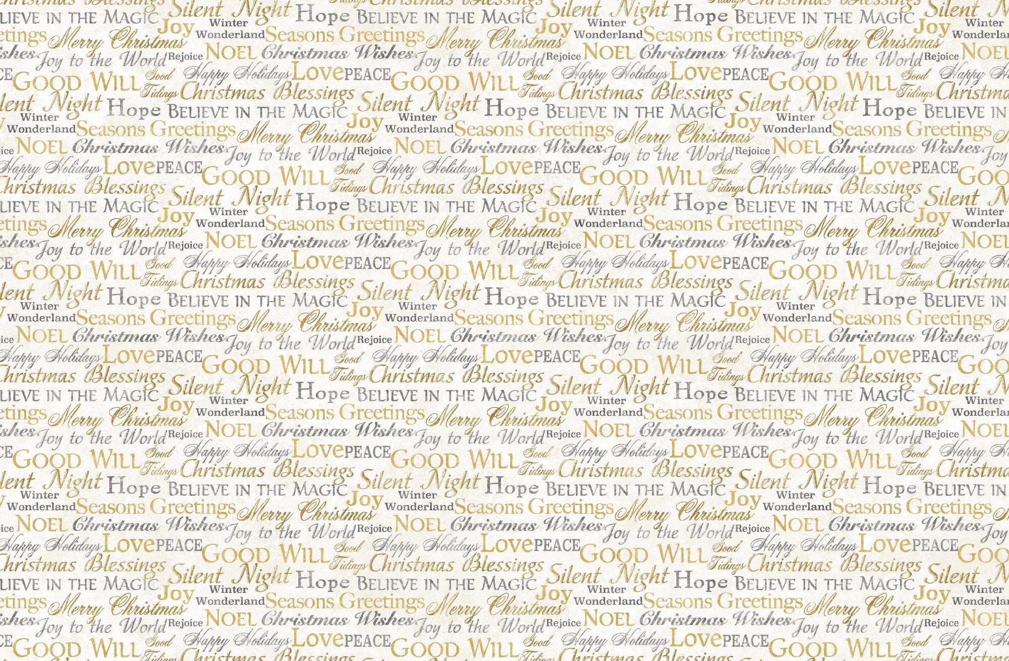 STONEHENGE WHITE CHRISTMAS  - Words   Neutral Gold