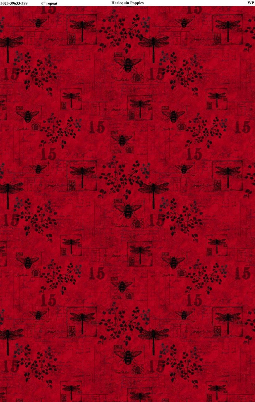 Harlequin Poppies - Red Garden Toile