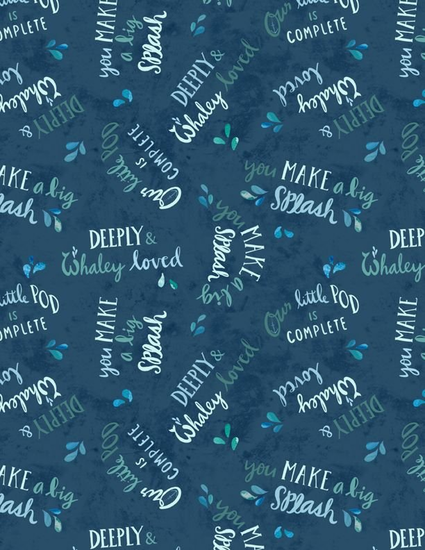 Whaley Loved - Words Allover - Navy - 17056-474