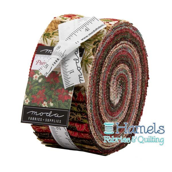 Poinsettias and Pine Metallic Jelly Roll