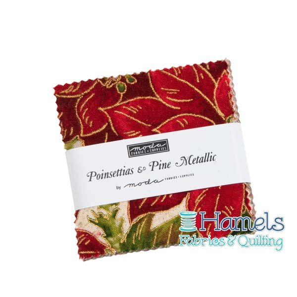 Poinsettias and Pine Metallic Mini Charm Pack