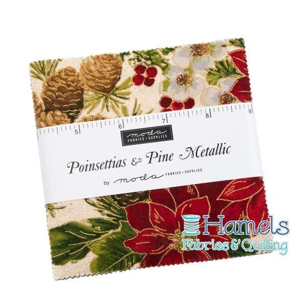Poinsettias and Pine Metallic Charm Pack