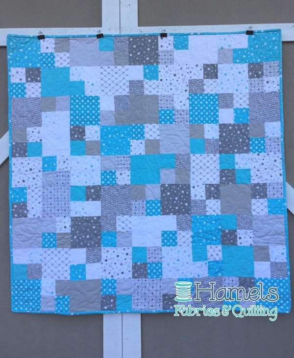 Modern Baby Four Patch Flannel Quilt Kit - Teal/Grey