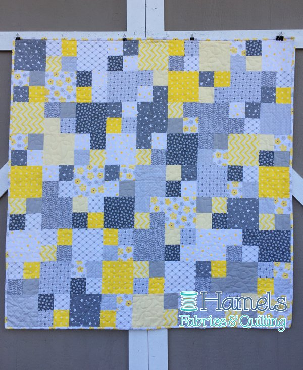 Modern Baby Four Patch Flannel Quilt Kit - Yellow/Grey