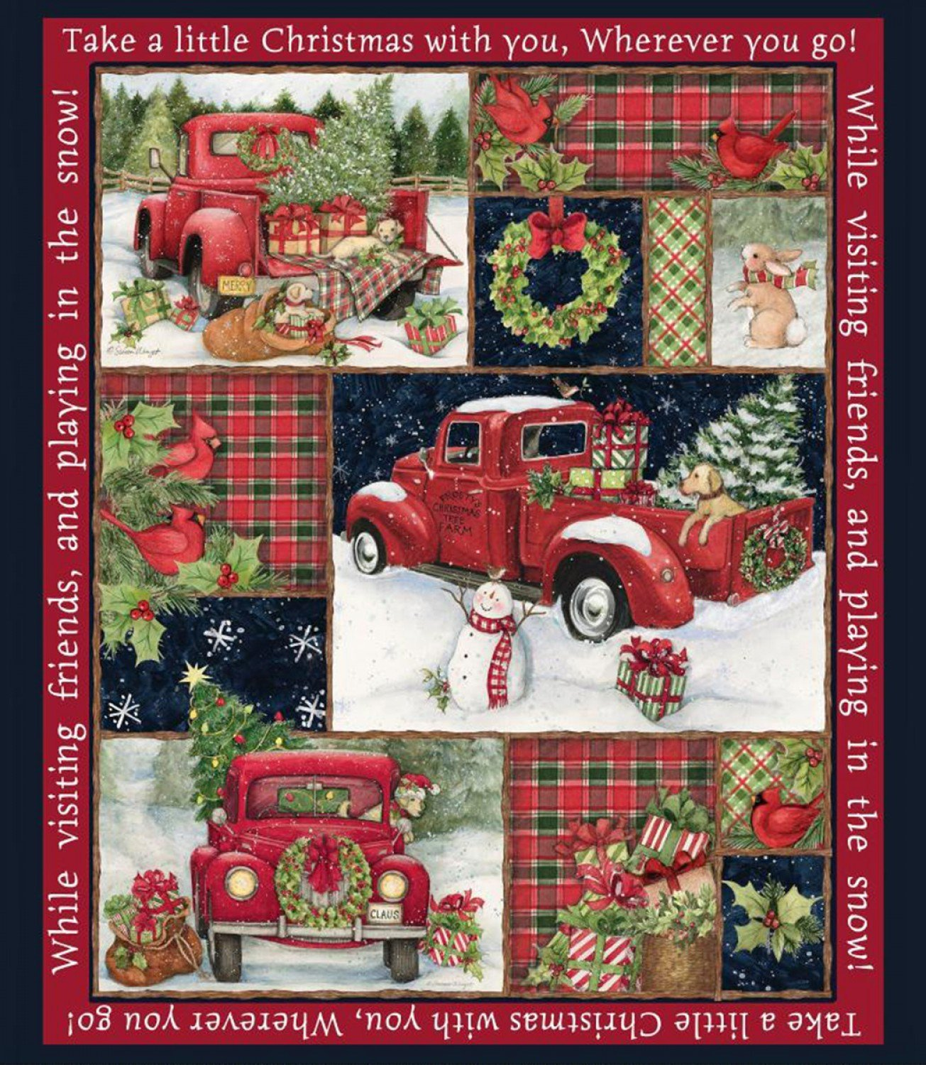 Christmas Red Truck PANEL - Pre Order for December 2019