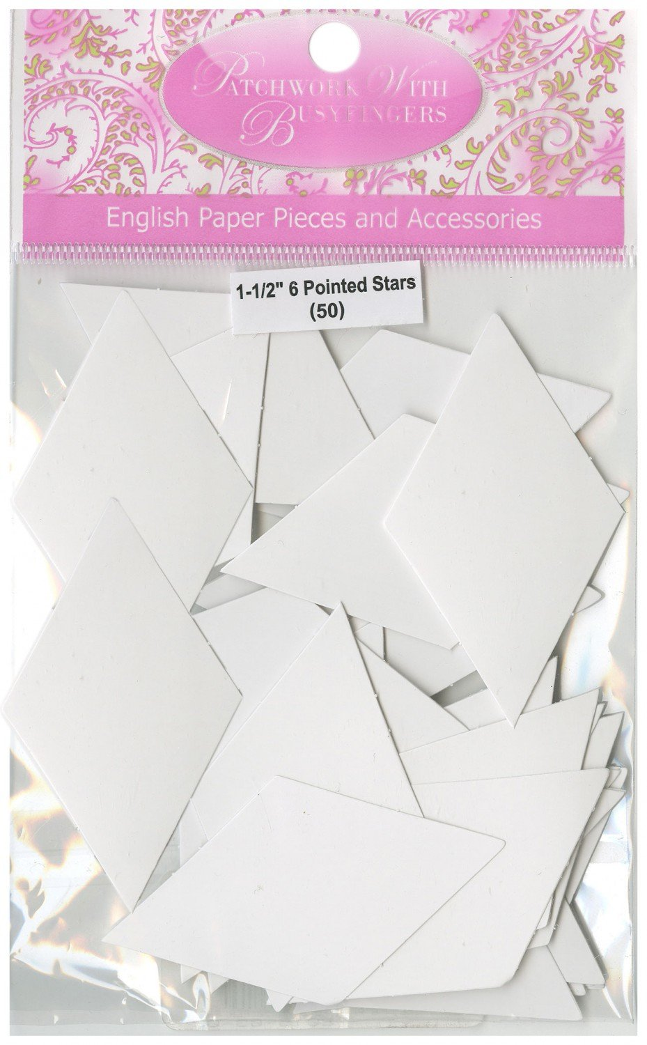 1-1/2in 6 Pointed Star Papers (100 pieces per bag)