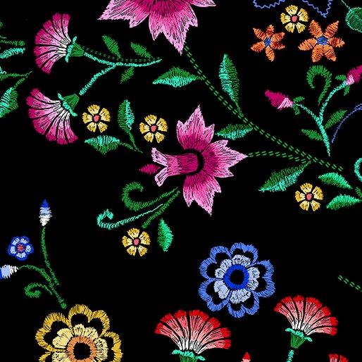 Embroidered Elegance - Bouquet -  Black - 7909-12