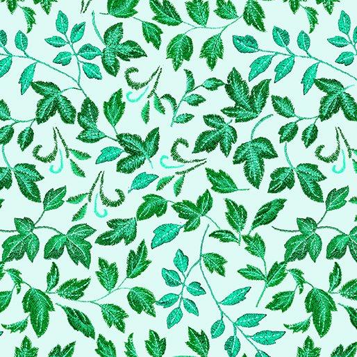 Embroidered Elegance -  Leaves - Mint - 7910-40