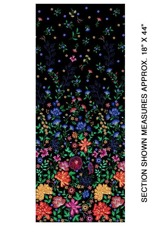 Embroidered Elegance -  Border  - Black - 7913-12