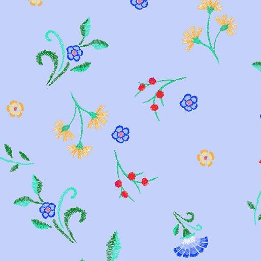 Embroidered Elegance - Floral Buds - Blue - 7917-05