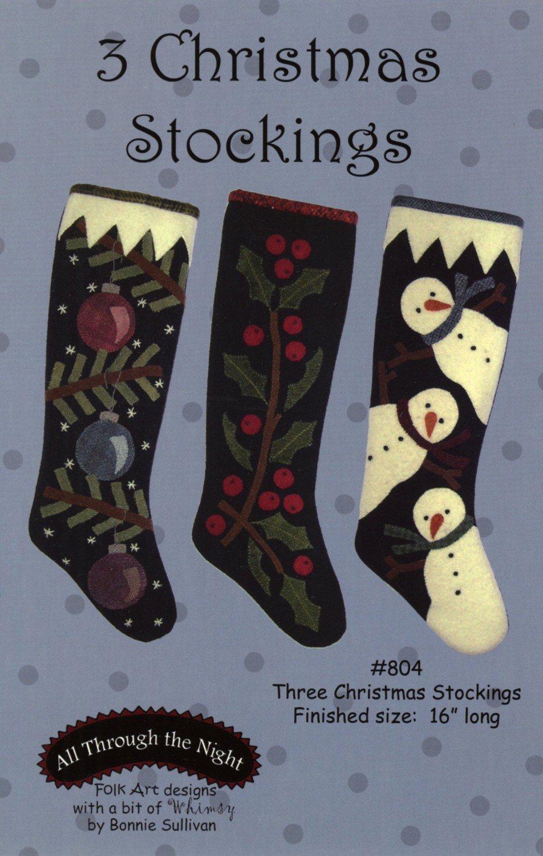 Three Christmas Stockings - Penny Rug