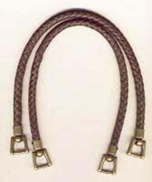 Bag Handles Leather Like Braided 16in Brown