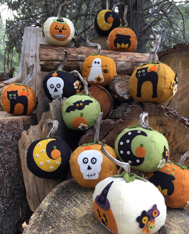 Eek! Spooks! Stuffed Pumpkins - Wool Felt & Floss Kit
